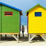 Colored Beach Huts near, Cape town, South Africa by David GABIS.