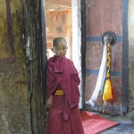 A young monk in a temple near Leh, India