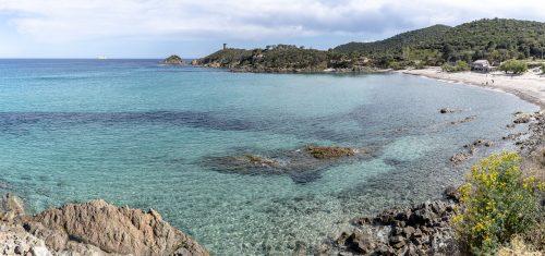 """Fautea"" Beach with the Genoese tower of fautea, Corsica"