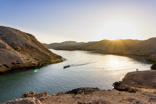 Sunrise in the beautiful Fjord-like of Bandar Khairan, Sultanate of Oman, Middle East, Arabian Peninsula