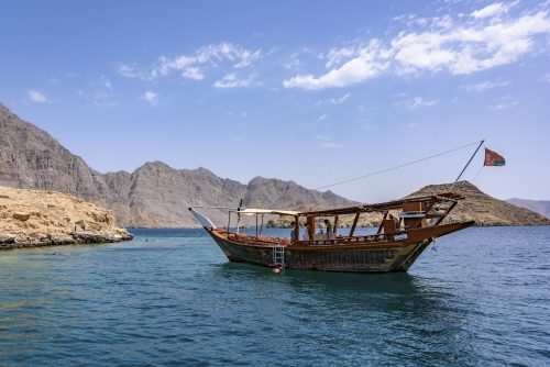 Traditional Arabic Dhows in the fjord of Musandam, Oman 🇴🇲