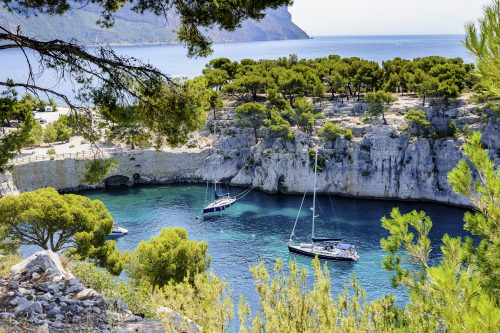 Yachts in the Calanques in South of France 🇫🇷