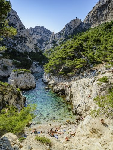 Hidden beach near the calaanque of Sugiton. South of France, Europe