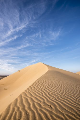 "Dunes with clouds <ul class=""exif""><li>Aperture: ƒ/11</li><li>Credit: David GABIS</li><li>Camera: NIKON D810</li><li>Caption: Top of a dune of red sand against blue sky and few clouds, Dubai Emirates, United Arab Emirates, UAE, Arabian peninsula. Large copy space for text</li><li>Taken: 20 December, 2016</li><li>Copyright: David@davidgabis.com</li><li>Flash fired: no</li><li>Focal length: 16mm</li><li>ISO: 31</li><li>Keywords: abstract background, adventure, arabic, arid, background, beautiful, blue, book cover, clear sky, copy space, desert, desert landscape, desert safari, dry, dubai, dunes, dunes desert, hill, holiday, horizon, hot, isolated, isolation, landscape, loneliness, natural, nature, nobody, orange, outdoor, pattern, red sand dunes, remote, safari, sand, sand dune, sandy, scenic, sightseeing, sky, terrain, texture, tourism, tourist attraction, tranquil, travel, travel destination, uae, wallpaper pattern, wilderness</li><li>Shutter speed: 1/30s</li><li>Title: Dunes with clouds, Dubai emirates</li></ul>"