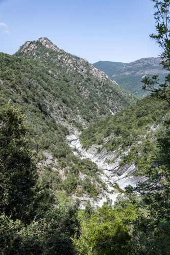 River with natural pools and forest of Travu valley. Chisà, Corsica, France