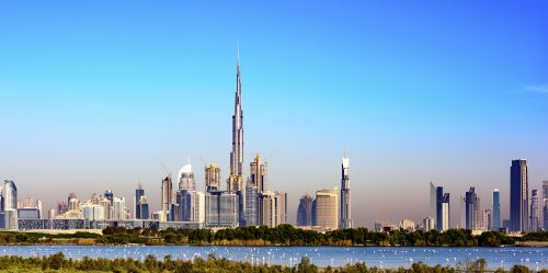 Dubai Skyline with Ras al Khor (famous for his Bird Sanctuary - many flamingos can be observed there), United Arab Emirates, Middle east, Arabian Peninsula