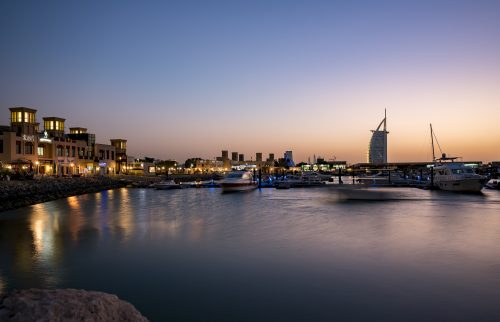 """View of """"Al Souq"""", Fishing Harbor, Dubai. It's an area where you can eat, drink, stroll among the boats and enjoy the fresh breeze from the sea, and meet the heart of Dubai, the old Emirati fishermen."""